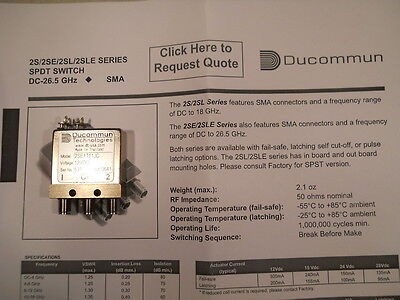 26Ghz 12V Switch / Relay Microonde Ducommun Mod. 2SE1T11CJ microwave