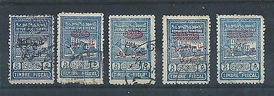 Syria - Obligatory Tax overprints on 5 p.s. Fiscal Stamps - Five Different Used