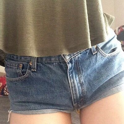 Original Levi Strauss Cropped Cut Women's Shorts - Roughly Size 12 - Hot Pants