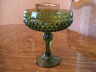 """Green Pressed Glass Open Compote EAPG 7.5"""""""