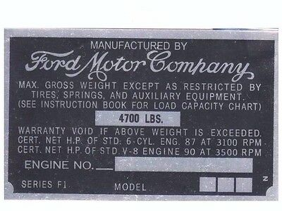Ford Truck  Data Plate Serial Number Id Tag Vin