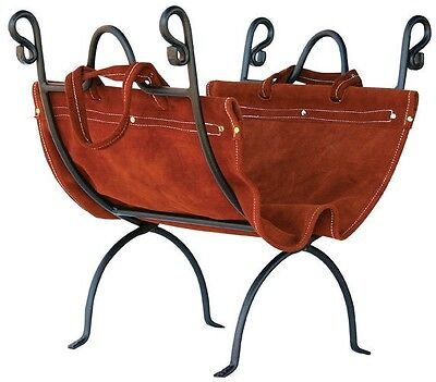 Uniflame® Olde World Wrought Iron Fire Wood Holder with Suede Leather Carrier