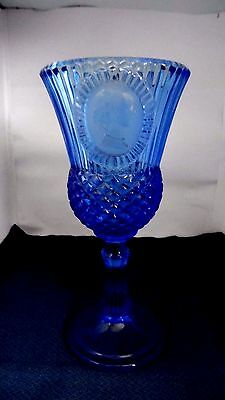 Avon Fostoria cobalt blue thistle glass Martha Washington candle holder
