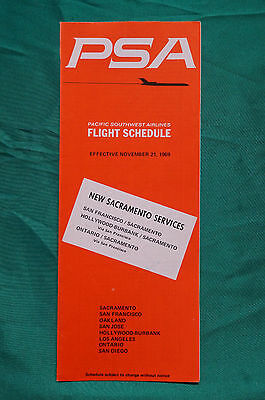 PSA  - Pacific Southwest Airlines - Timetable - Nov. 21, 1969