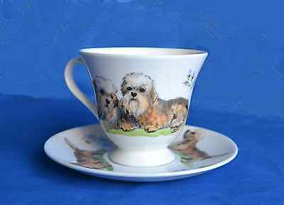 Hand painted china Cabinet Cup & Saucer with Dandie Dinmonts -  Sylvia Smith