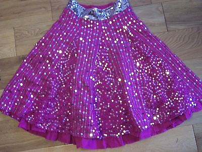 M&S Pink & Silver Sequin Cotton Skirt 7 Yrs