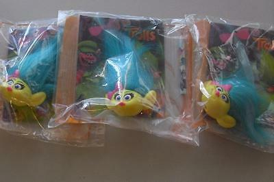3 x Mcdonald's Happy Meal TROLLS Smidge Toys New & Sealed