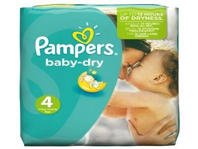 Pampers Taille 4 Baby dry 250 couches ( 10 paquets de 25 couches ) à 59,99€