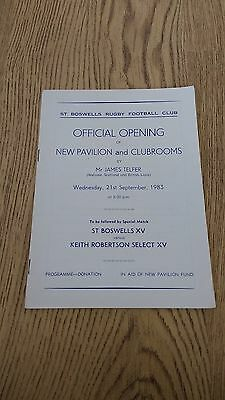 St Boswells XV v Keith Robertson Select XV 1983 Rugby Union Programme