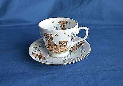 Hand painted china Cabinet Cup & Saucer with Brussel Griffons -  Sylvia Smith