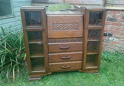 Art deco carved bureau & bookcase, with 2 glass etched doors, mirror & 3 drawers