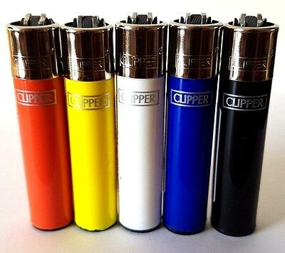 5 Clipper Lighters - Solid Colours - Full Size Regular Set Gas Refillable x5 pcs