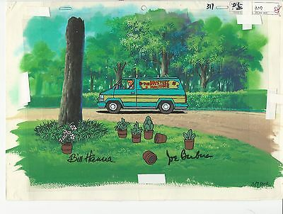 Scooby-Doo Mystery Machine Animation Cel. HandPainted Background SIGNED