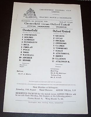 Chesterfield v Oxford United - Practice Match - Tuesday 4th August 1970
