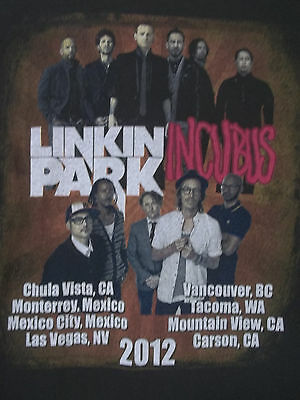 Linkin Park And Incubus 2012 Tour Dates Black XL Graphic Tee T-Shirt Rap Hip-Hop