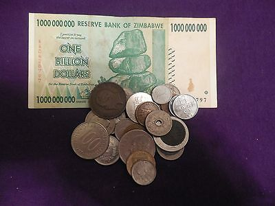 Lot of 25 Foreign World Coins & 1 Banknote, incl. 1862 Coin!!