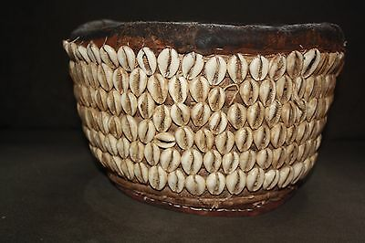 Vintage Yoruba Basket Decorated with Cowrie Shells Nigeria African Art
