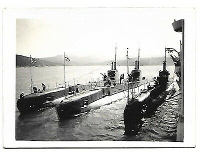 HMS Repulse with submarines HMS Snapper, Sea-lion and Shark Photograph Jan 1937