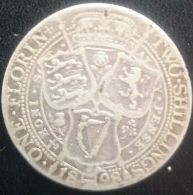 1898 Queen Victoria sterling silver florin