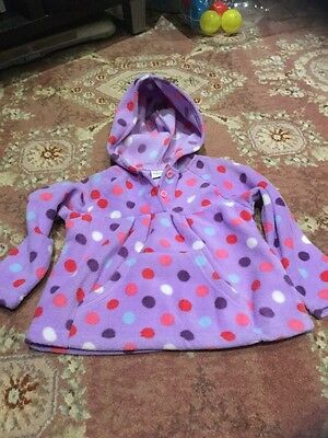 Boots Mini Club Girls Purple Spotted Hooded Top 1.5-2 yrs