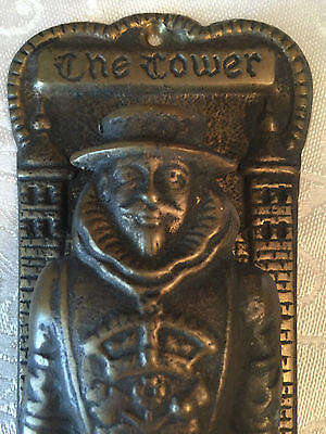 "Antique Brass ""The Tower"" Knight Door Knocker - Pat No 996138"