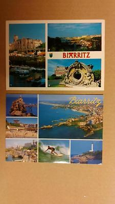 2 cartes postales biarritz, france, collection