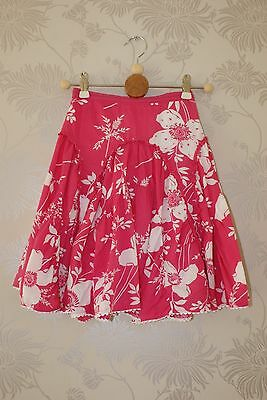 Monsoon Girls Floral Skirt Sequins 3-4 years pink white lined elastic zip cotton