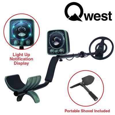 "Qwest LED 50"" Metal Detector Kit w/ Shovel Scoop Treasure Hunter Waterproof Coil"