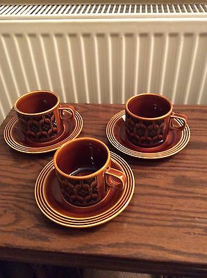 Three Hornsea Heirloom Cups and saucers