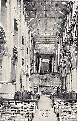Postcard St Albans Abbey The Nave Hertfordshire 1900-20