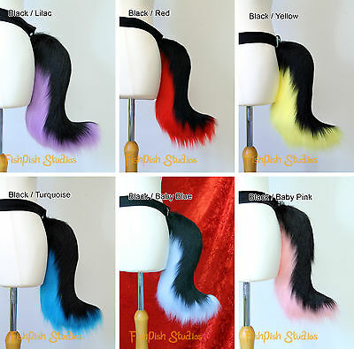 Small Size Fursuit Furry Tail in Black and White or Black / White and Rainbow