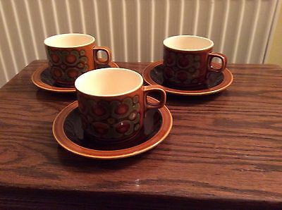 Three Hornsea Bronte Cups and Saucers