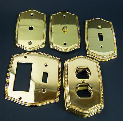 12 Brass Switch Light Outlet Plate Covers Broadway Supply made in Portugal