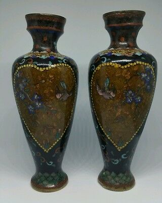 Antique Pair Of Japanese Cloisonne Vases