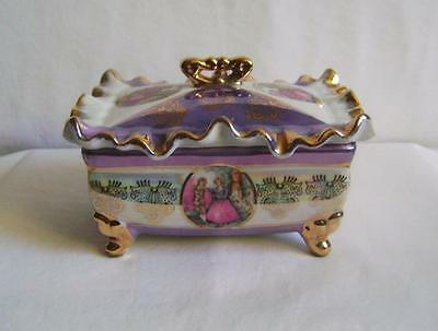 Vintage Porcelain Trinket Box: C18th Lady Decoration, Blue Lustre & Gilding