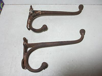 "Antique Set of 2 Old Rusty Hooks 8"" Long Cannonball Tips Chippy White Paint"