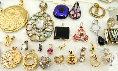 LOT of 50+ Piece Vintage & Modern  Pendant Rhinestone Glass Some Signed