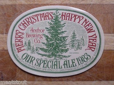 1983 Christmas Ale Anchor Steam Brewing Co., Beer Label San Francisco, CA