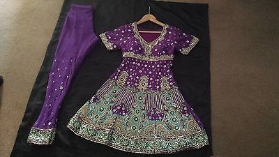 Stunning Purple Indian Frock Suit embroided pyjami suit size 10 Purple Cost £350