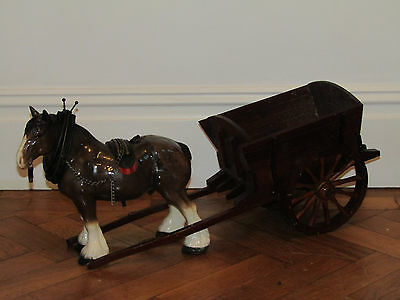 Vintage Large Shire Horse With Hand Made/crafted Wooden And Metal Cart