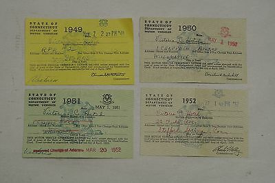 Lot 4 Vintage Sequential State of CT DMV Paper Operator's Licenses, 1949 - 1952