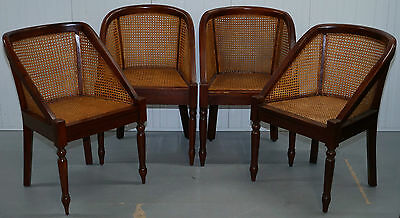 Set Of Four Lovely Mahogany Framed Rattan Berger Dining Chairs Contemporary Styl
