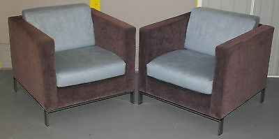 Pair Of Rrp £8000 Very Rare Walter Knoll Foster 500 Contemporary Armchairs