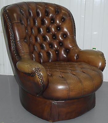 Original Victorian Barrel Back Aged Brown Leather Armchair Compact Stunning!