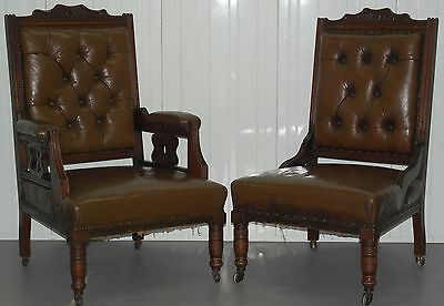 Pair Of Original Victorian Chesterfield His Hers Throne Armchairs Brown Leather