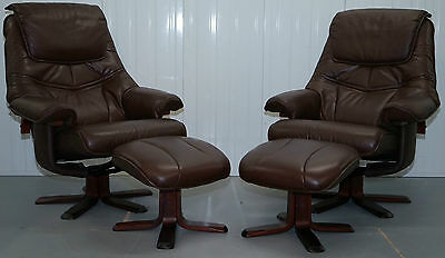 Pair Of Brown Leather Recliner Armchairs & Matching Footstools Rosewood Legs