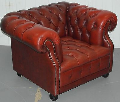 Contemporary Chesterfield Oxblood Leather Club Armchair Hessian Base Cover