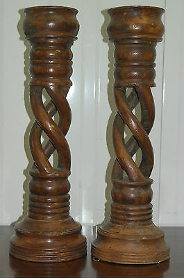 Large Solid Teak Twisted Candlesticks 52Cm High Solid Chunky Wood Lovely Find