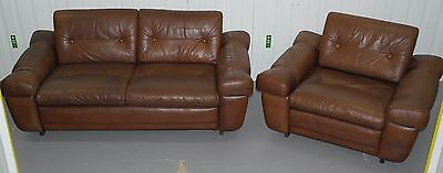 Stunning Aged Brown Leather Vintage Mid Century Danish Sofa And Armchair Suite