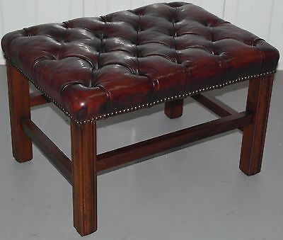 £495 Leather Chairs Of Bath Handmade Chippendale Chesterfield Oxblood Footstool